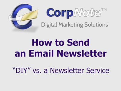Pros and cons of sending an email newsletter using an email marketing service.